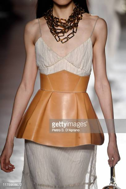 A model fashion detail walks the runway at the Aigner show during the Milan Fashion Week Spring/Summer 2020 on September 20 2019 in Milan Italy