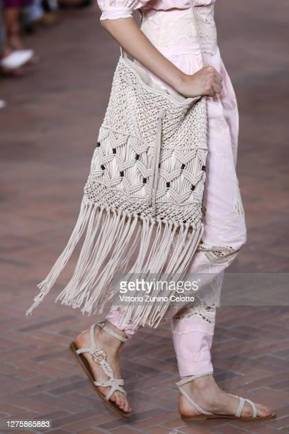 Model, fashion detail, walks the runway at the Alberta Ferretti fashion show during the Milan Women's Fashion Week on September 23, 2020 in Milan,...
