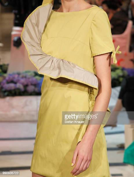 A model fashion detail walks the runway at the Anja Gockel show during the Berlin Fashion Week Spring/Summer 2019 at Hotel Adlon on July 3 2018 in...