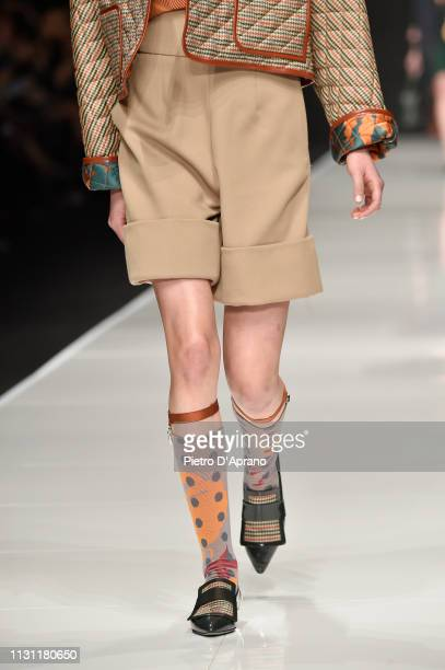 Model, fashion detail, walks the runway at the Anteprima show at Milan Fashion Week Autumn/Winter 2019/20 on February 21, 2019 in Milan, Italy.