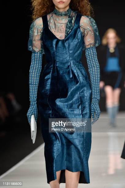 A model fashion detail walks the runway at the Anteprima show at Milan Fashion Week Autumn/Winter 2019/20 on February 21 2019 in Milan Italy