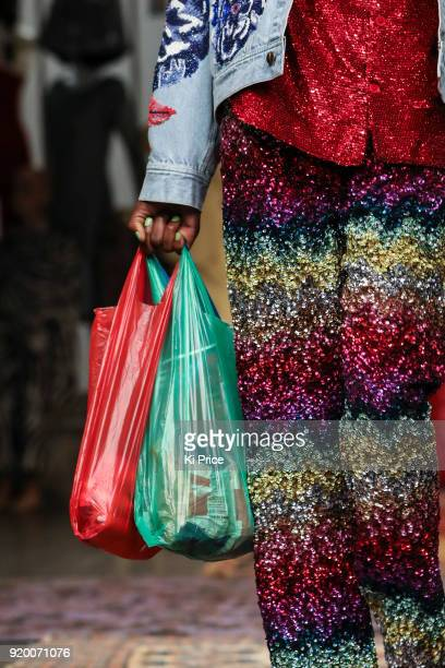 A model fashion detail walks the runway at the Ashish show during London Fashion Week February 2018 at BFC Show Space on February 18 2018 in London...
