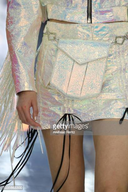 A model fashion detail walks the runway at the Byblos show during Milan Fashion Week Spring/Summer 2019 on September 19 2018 in Milan Italy