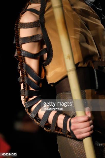 A model fashion detail walks the runway at the Ceren Ocak show during MercedesBenz Istanbul Fashion Week March 2017 at Grand Pera on March 22 2017 in...