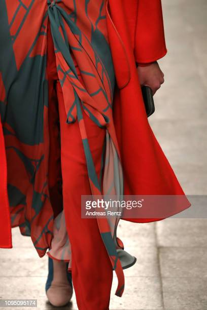 A model fashion detail walks the runway at the Dawid Tomaszewski Defile during the Berlin Fashion Week Autumn/Winter 2019 on January 16 2019 in...
