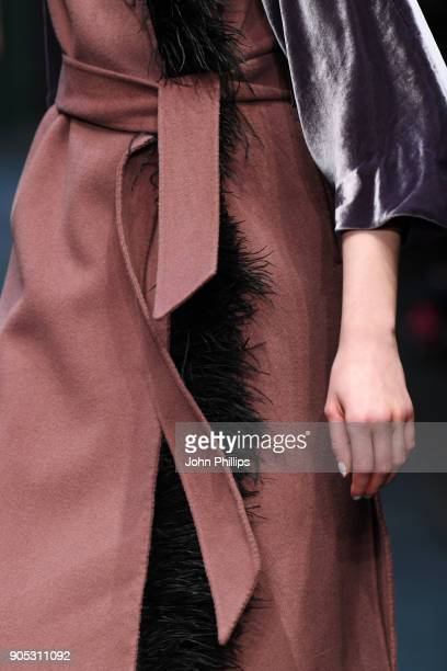 A model fashion detail walks the runway at the Dawid Tomaszewski show during the MBFW Berlin January 2018 at ewerk on January 15 2018 in Berlin...