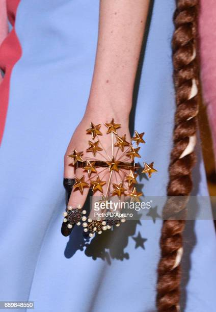 A model fashion detail walks the runway at the Gucci Cruise 2018 show at Palazzo Pitti on May 29 2017 in Florence Italy