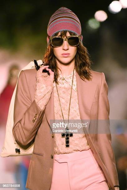 A model fashion detail walks the runway at the Gucci Cruise 2019 show at Alyscamps on May 30 2018 in Arles France