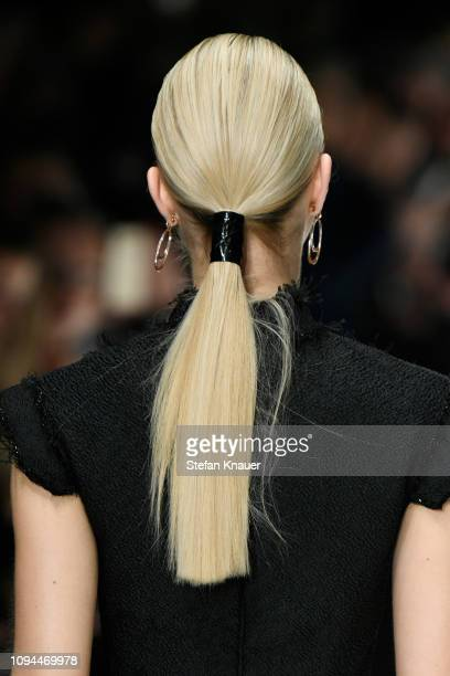 Model, fashion detail, walks the runway at the Irene Luft show during the Berlin Fashion Week Autumn/Winter 2019 at ewerk on January 15, 2019 in...