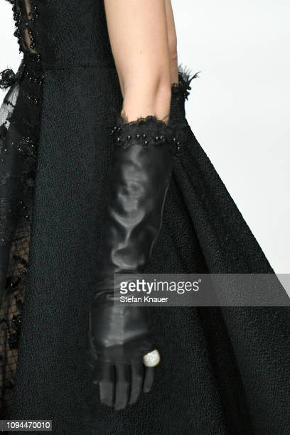 A model fashion detail walks the runway at the Irene Luft show during the Berlin Fashion Week Autumn/Winter 2019 at ewerk on January 15 2019 in...