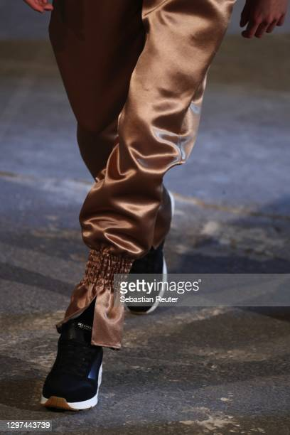 Model, fashion detail, walks the runway at the Kilian Kerner show during the Mercedes-Benz Fashion Week Berlin January 2021 at Kraftwerk Mitte on...