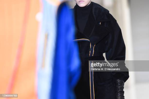 Model, fashion detail, walks the runway at the K-Way Fashion Show during the Milan Men's Fashion Week F/W 2021/2022 on January 17, 2021 in Milan,...