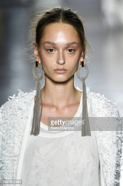 A model fashion detail walks the runway at the Les Copains show during Milan Fashion Week Spring/Summer 2019 on September 22 2018 in Milan Italy