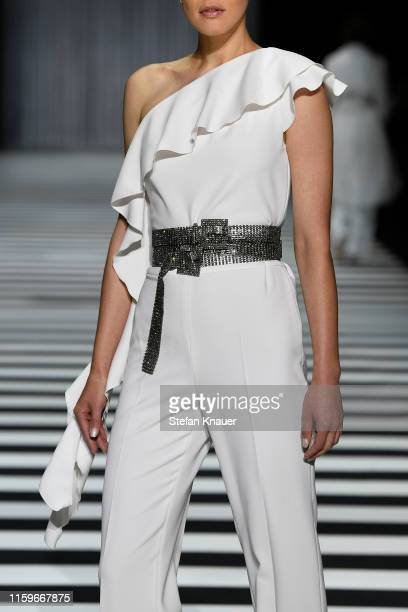 A model fashion detail walks the runway at the Marc Cain fashion show during the Berlin Fashion Week Spring/Summer 2020 at Velodrom on July 02 2019...