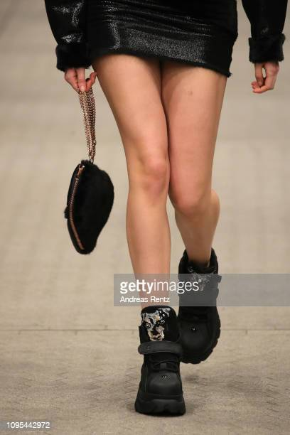 A model fashion detail walks the runway at the Marina Hoermanseder Defile during 'Der Berliner Salon' Autumn/Winter 2019 at Vollgutlager on January...