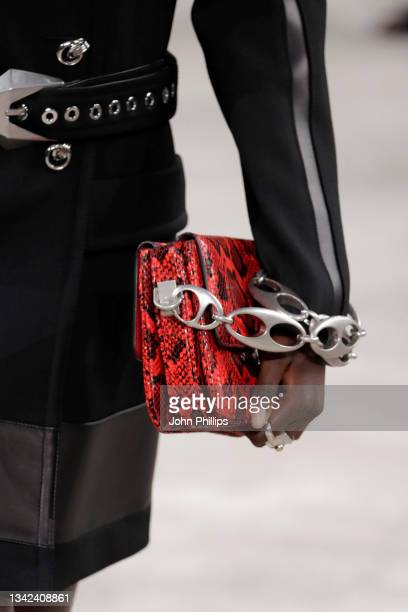 Model, fashion detail, walks the runway at the Ports 1961 fashion show during the Milan Fashion Week - Spring / Summer 2022 on September 25, 2021 in...