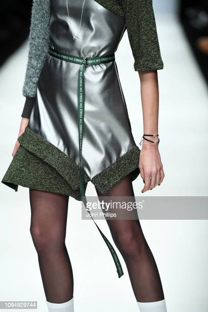 A model fashion detail walks the runway at the Rebekka Ruetz show during the Berlin Fashion Week Autumn/Winter 2019 at ewerk on January 16 2019 in...
