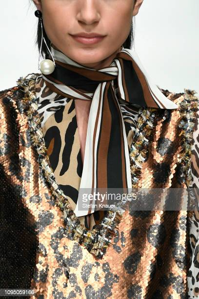 Model, fashion detail, walks the runway at the Riani show during the Berlin Fashion Week Autumn/Winter 2019 at ewerk on January 16, 2019 in Berlin,...