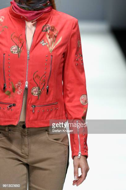 A model fashion detail walks the runway at the Sportalm Kitzbuehel show during the Berlin Fashion Week Spring/Summer 2019 at ewerk on July 4 2018 in...