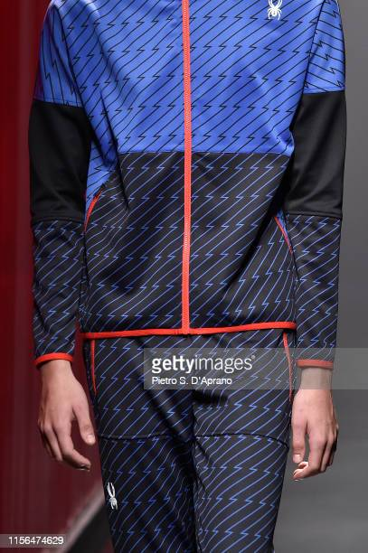 A model fashion detail walks the runway at the Spyder fashion show during the Milan Men's Fashion Week Spring/Summer 2020 on June 17 2019 in Milan...