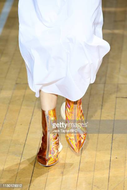 A model fashion detail walks the runway at the TOGA show during London Fashion Week February 2019 on at the Seymour Leisure Centre on February 16...