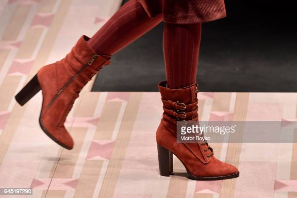 A model fashion detail walks the runway at the Trussardi show during Milan Fashion Week Fall/Winter 2017/18 on February 26 2017 in Milan Italy