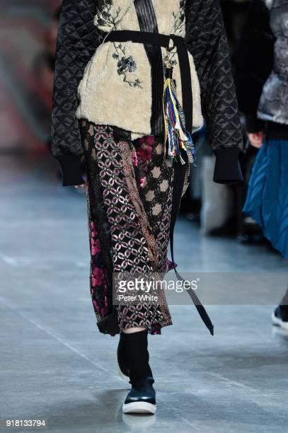 A model fashion detail walks the runway at the Vivienne Tam show during New York Fashion Week at Gallery I at Spring Studios on February 13 2018 in...