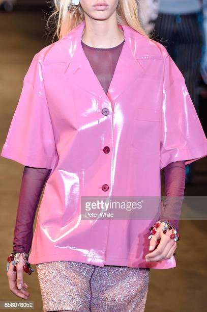 A model fashion detail walks the runway during the Acne Studios show as part of the Paris Fashion Week Womenswear Spring/Summer 2018 on September 30...