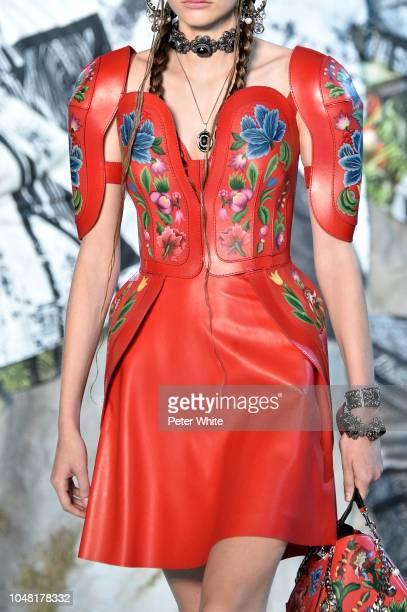 A model fashion detail walks the runway during the Alexander McQueen Paris show as part of the Paris Fashion Week Womenswear Spring/Summer 2019 on...