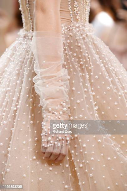 A model fashion detail walks the runway during the Celia Kritharioti Haute Couture Fall/Winter 2019/2020 at Palais De Tokyo on July 02 2019 in Paris...