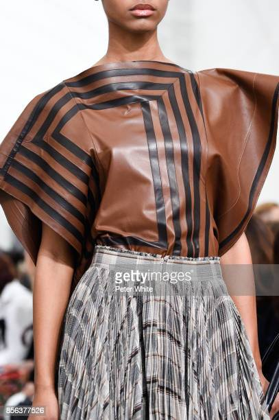 A model fashion detail walks the runway during the Celine show as part of the Paris Fashion Week Womenswear Spring/Summer 2018 on October 1 2017 in...