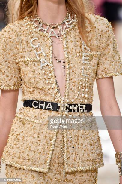 A model fashion detail walks the runway during the Chanel show as part of the Paris Fashion Week Womenswear Spring/Summer 2019 on October 2 2018 in...