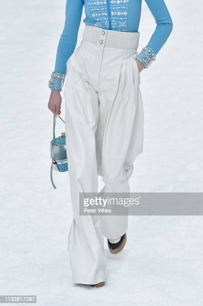 Model, fashion detail, walks the runway during the Chanel show as part of the Paris Fashion Week Womenswear Fall/Winter 2019/2020 on March 05, 2019...