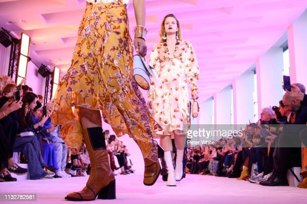 Model, fashion detail, walks the runway during the Chloe show as part of the Paris Fashion Week Womenswear Fall/Winter 2019/2020 on February 28, 2019...