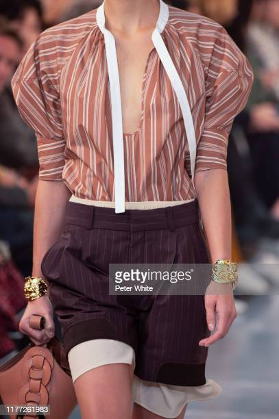 A model fashion detail walks the runway during the Chloe Womenswear Spring/Summer 2020 show as part of Paris Fashion Week on September 26 2019 in...