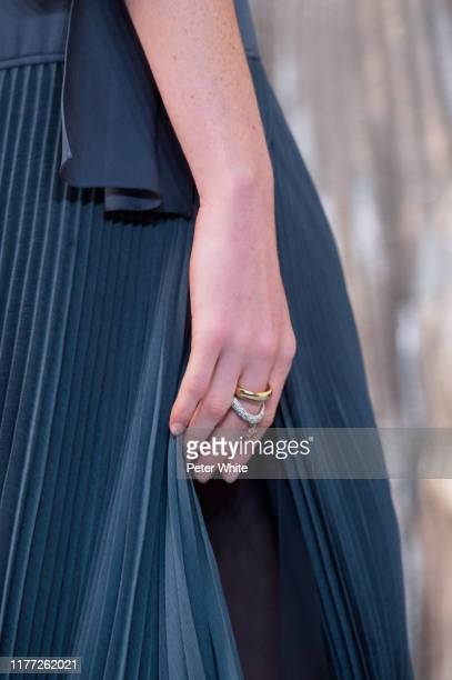 Model, fashion detail, walks the runway during the Chloe Womenswear Spring/Summer 2020 show as part of Paris Fashion Week on September 26, 2019 in...
