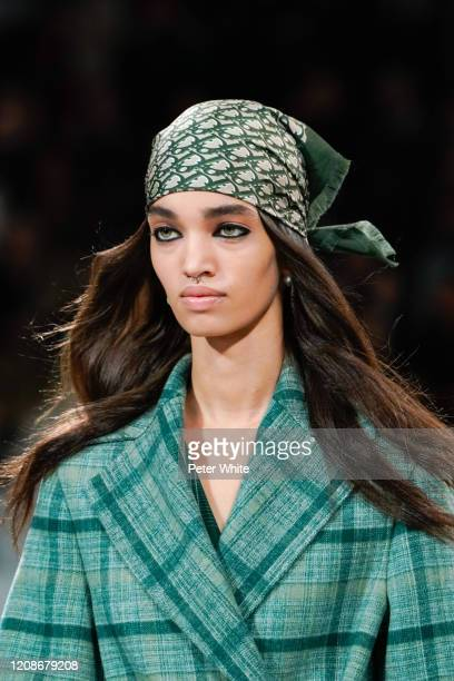 Model, fashion detail, walks the runway during the Dior show as part of the Paris Fashion Week Womenswear Fall/Winter 2020/2021 on February 25, 2020...