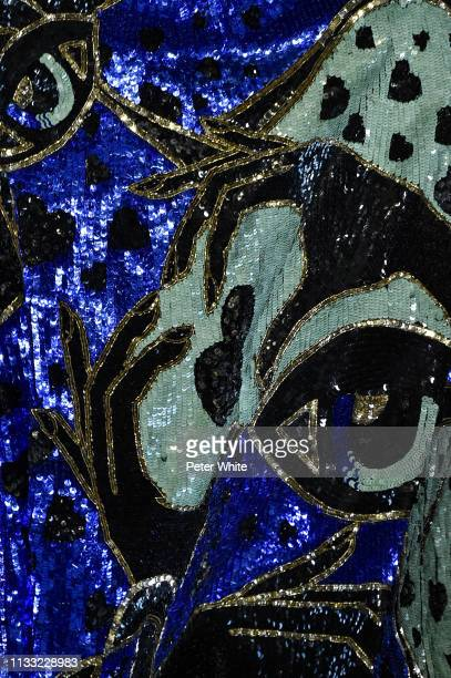 Model, fashion detail, walks the runway during the Elie Saab show as part of the Paris Fashion Week Womenswear Fall/Winter 2019/2020 on March 02,...