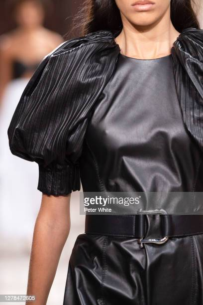 Model, fashion detail, walks the runway during the Gabriela Hearst Womenswear Spring/Summer 2021 show as part of Paris Fashion Week on October 04,...