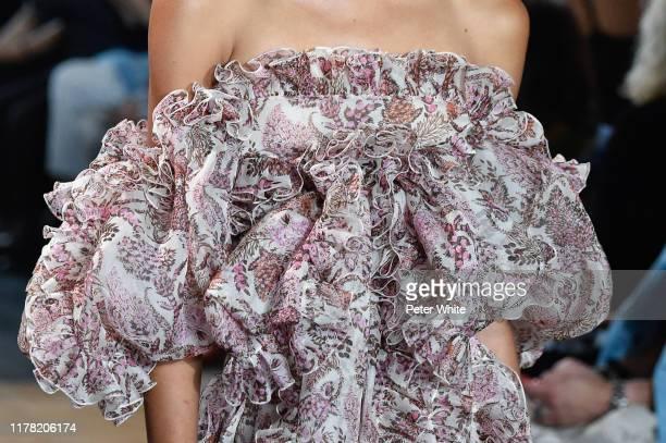 Model, fashion detail, walks the runway during the Giambattista Valli Womenswear Spring/Summer 2020 show as part of Paris Fashion Week on September...