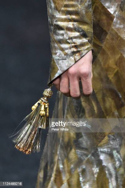 A model fashion detail walks the runway during the Guo Pei Spring Summer 2019 show as part of Paris Fashion Week on January 23 2019 in Paris France