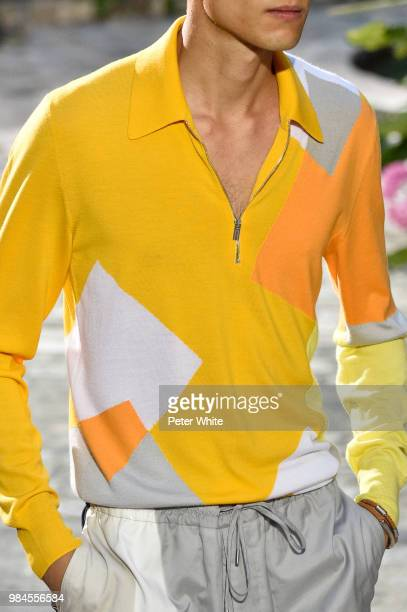 A model fashion detail walks the runway during the Hermes Menswear Spring/Summer 2019 show as part of Paris Fashion Week on June 23 2018 in Paris...