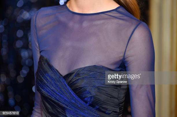 A model fashion detail walks the runway during the Ingie show as part of the Paris Fashion Week Womenswear Fall/Winter 2018/2019 on February 28 2018...