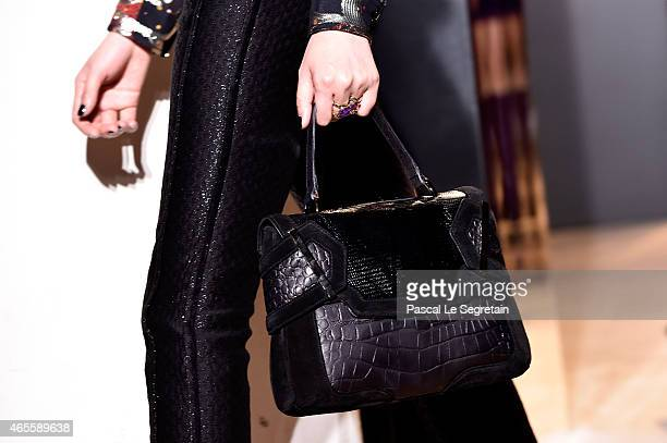 A model fashion detail walks the runway during the John Galliano show as part of the Paris Fashion Week Womenswear Fall/Winter 2015/2016 on March 8...