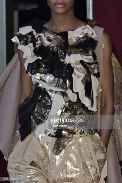 A model fashion detail walks the runway during the Koche show as part of the Paris Fashion Week Womenswear Fall/Winter 2018/2019 on February 27 2018...