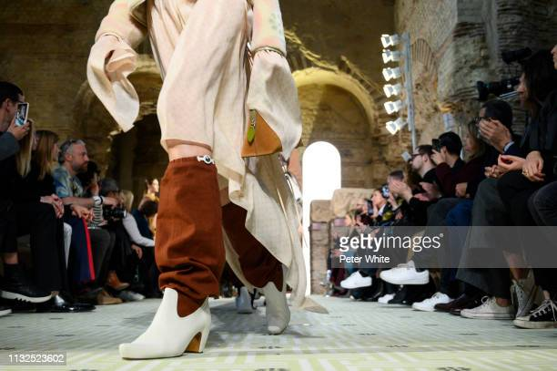 A model fashion detail walks the runway during the Lanvin show as part of the Paris Fashion Week Womenswear Fall/Winter 2019/2020 on February 27 2019...