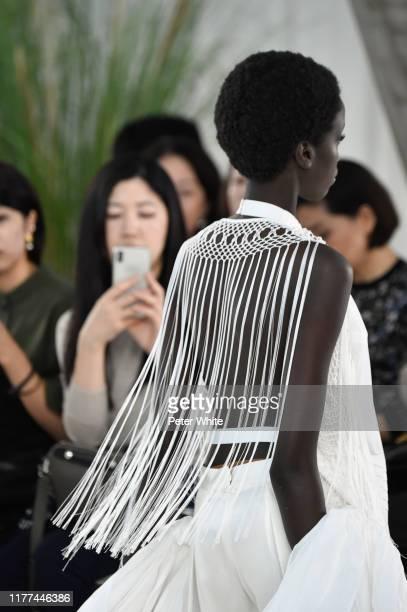 Model, fashion detail, walks the runway during the Loewe Womenswear Spring/Summer 2020 show as part of Paris Fashion Week on September 27, 2019 in...