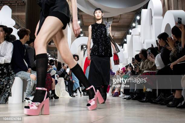 A model fashion detail walks the runway during the Miu Miu show as part of the Paris Fashion Week Womenswear Spring/Summer 2019 on October 2 2018 in...