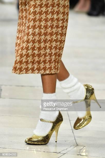 Model, fashion detail, walks the runway during the Miu Miu show as part of the Paris Fashion Week Womenswear Fall/Winter 2018/2019 on March 6, 2018...