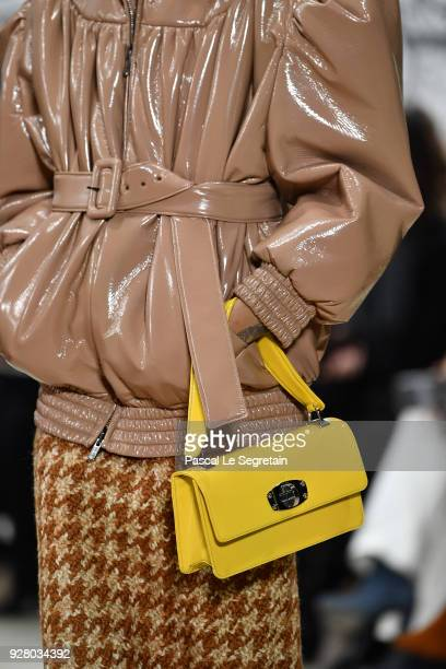 A model fashion detail walks the runway during the Miu Miu show as part of the Paris Fashion Week Womenswear Fall/Winter 2018/2019 on March 6 2018 in...